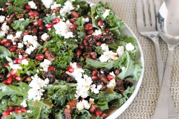 Kale Pomegranate Goat Cheese Salad by Diverse Dinners