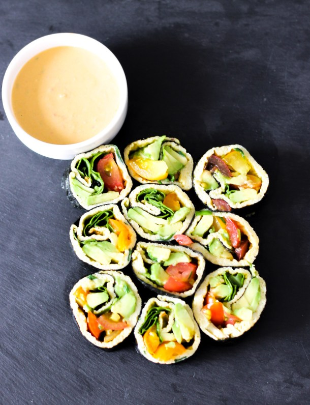 Nori Breakfast Rolls with Tomato Dip by Diverse Dinners