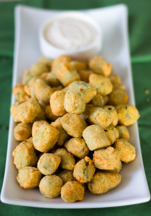 Fried Okra Bites with Pepper Dip by Diverse Dinners