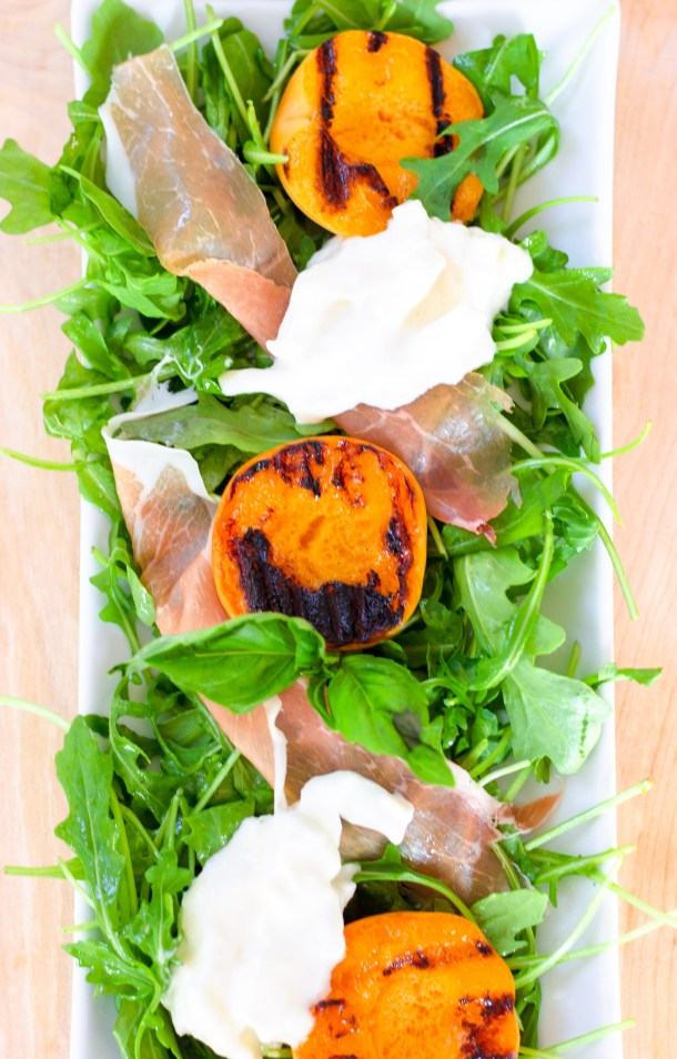 Grilled Apricots and Burrata Salad