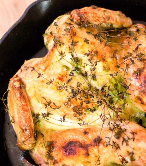 Garlic Herb Spatchcock Chicken by Diverse Dinners