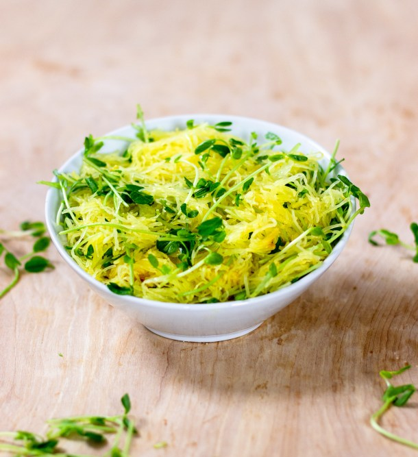 Roasted Spaghetti Squash with Pea Shoots by Diverse Dinners