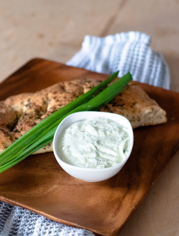 Garlic Chive Avocado Dip by Diverse Dinners