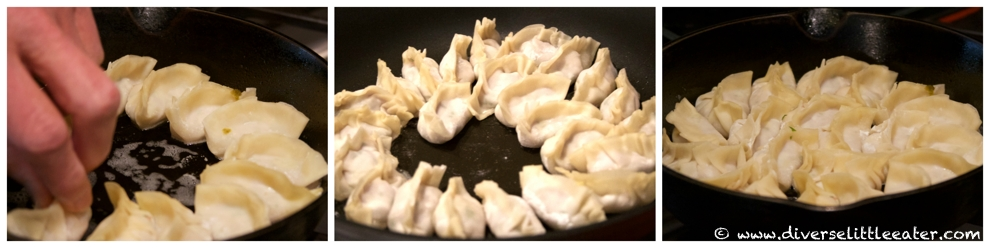 Placing potstickers in the pan