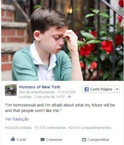 Na publicação, um menino com aproximadamente 10 anos descreve sua preocupação com o futuro pelo fato de ser gay