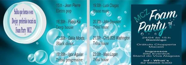 Agenda de horários dos Dj´s Foam Party MCZ