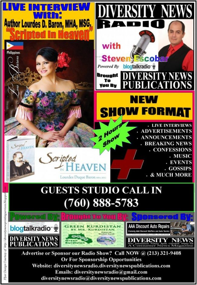 Scripted in Heaven By Lourdes Duque Baron, MHA, MSG. to be Interviewed on Diversity News Radio, On AIR with Steven Escobar