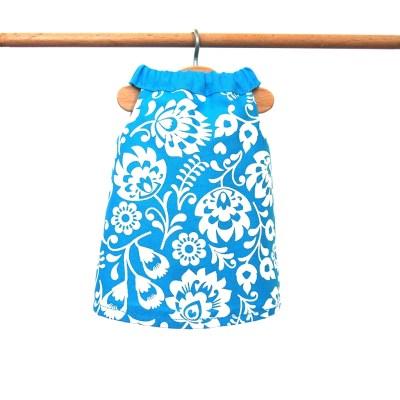Šaty modré s kvetinkami