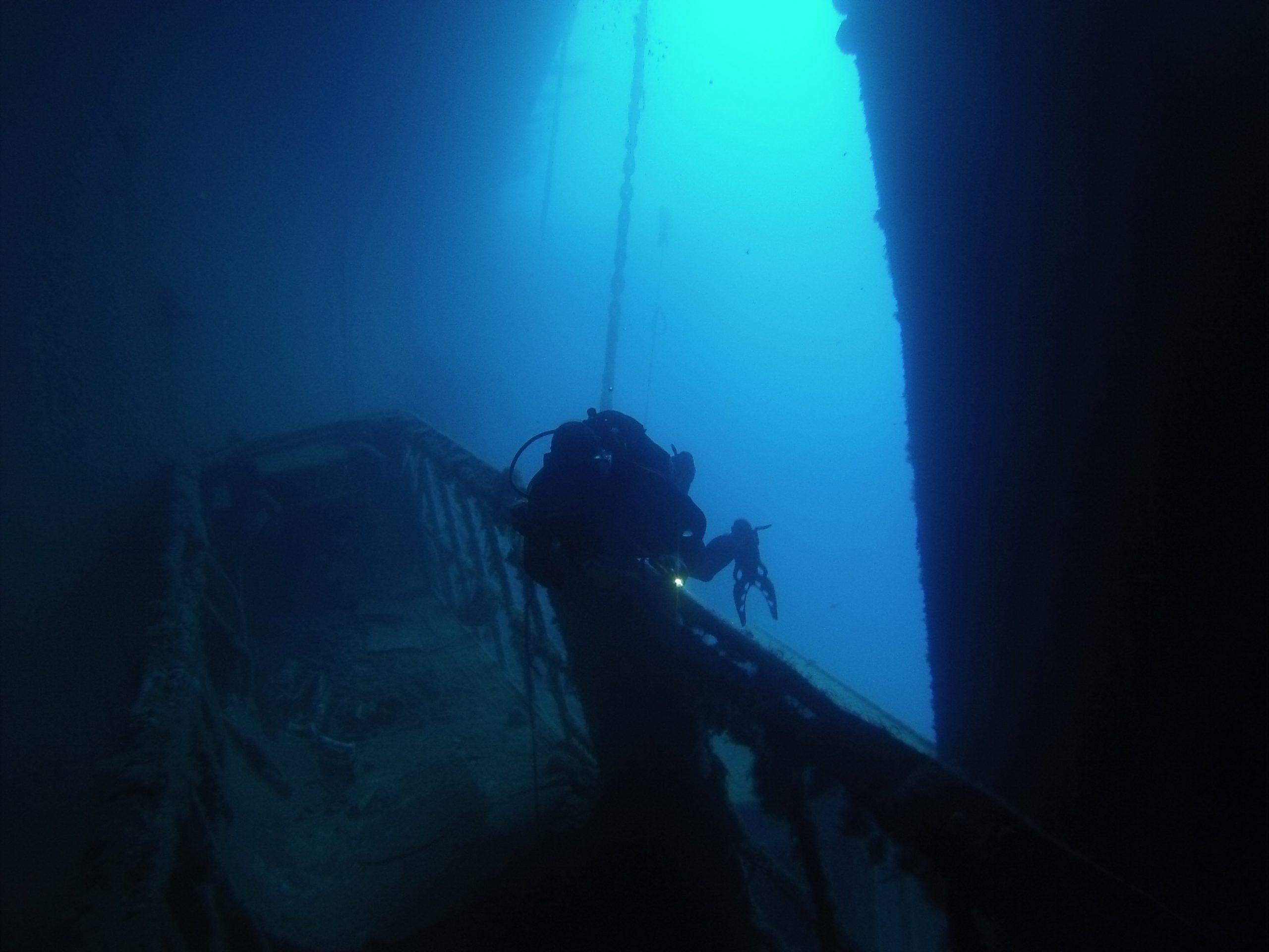 Diver Entering Upper cargo deck