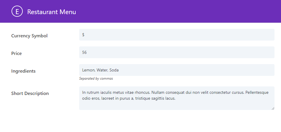 Divi Restaurant menu plugin fields