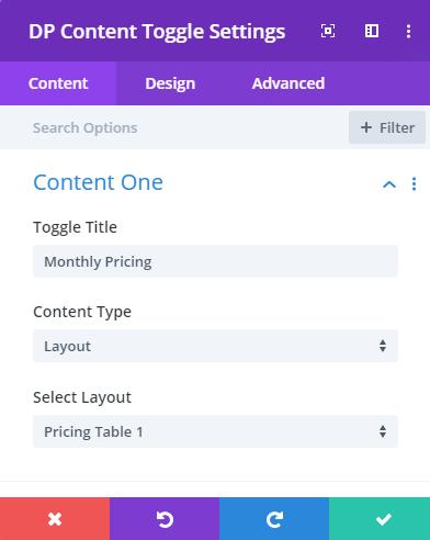 Divi plus content toggle settings