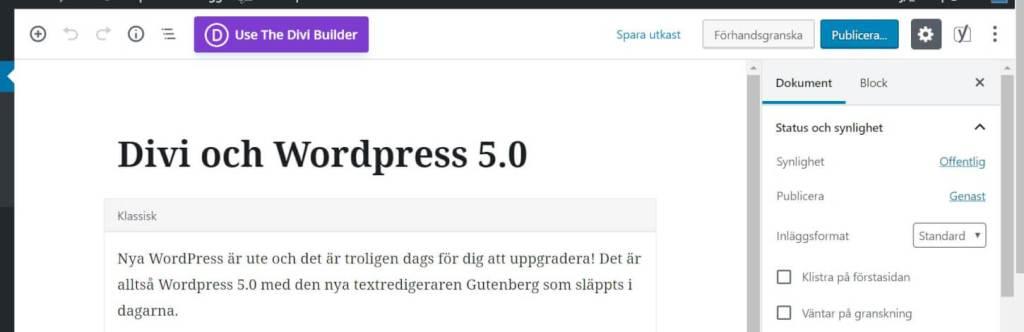 Divi och Wordpress 5.0 1
