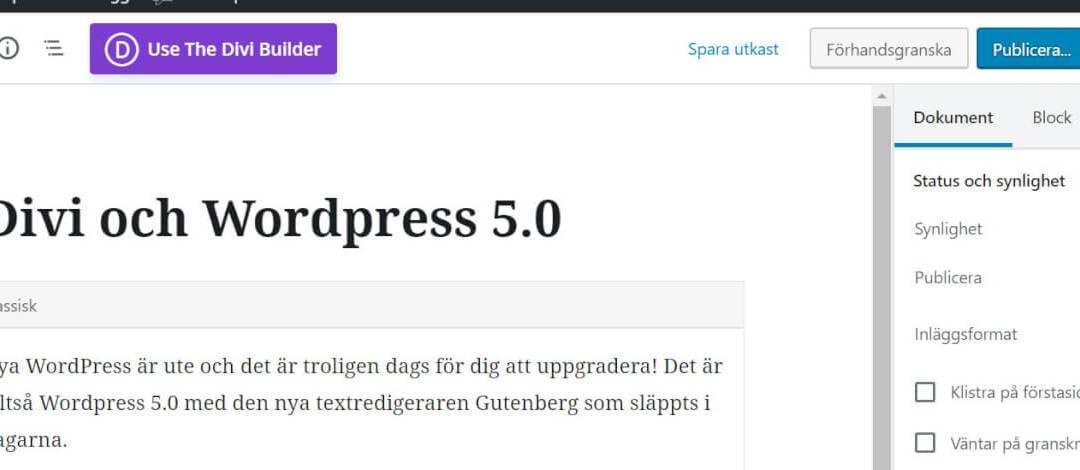 Divi och WordPress 5.0