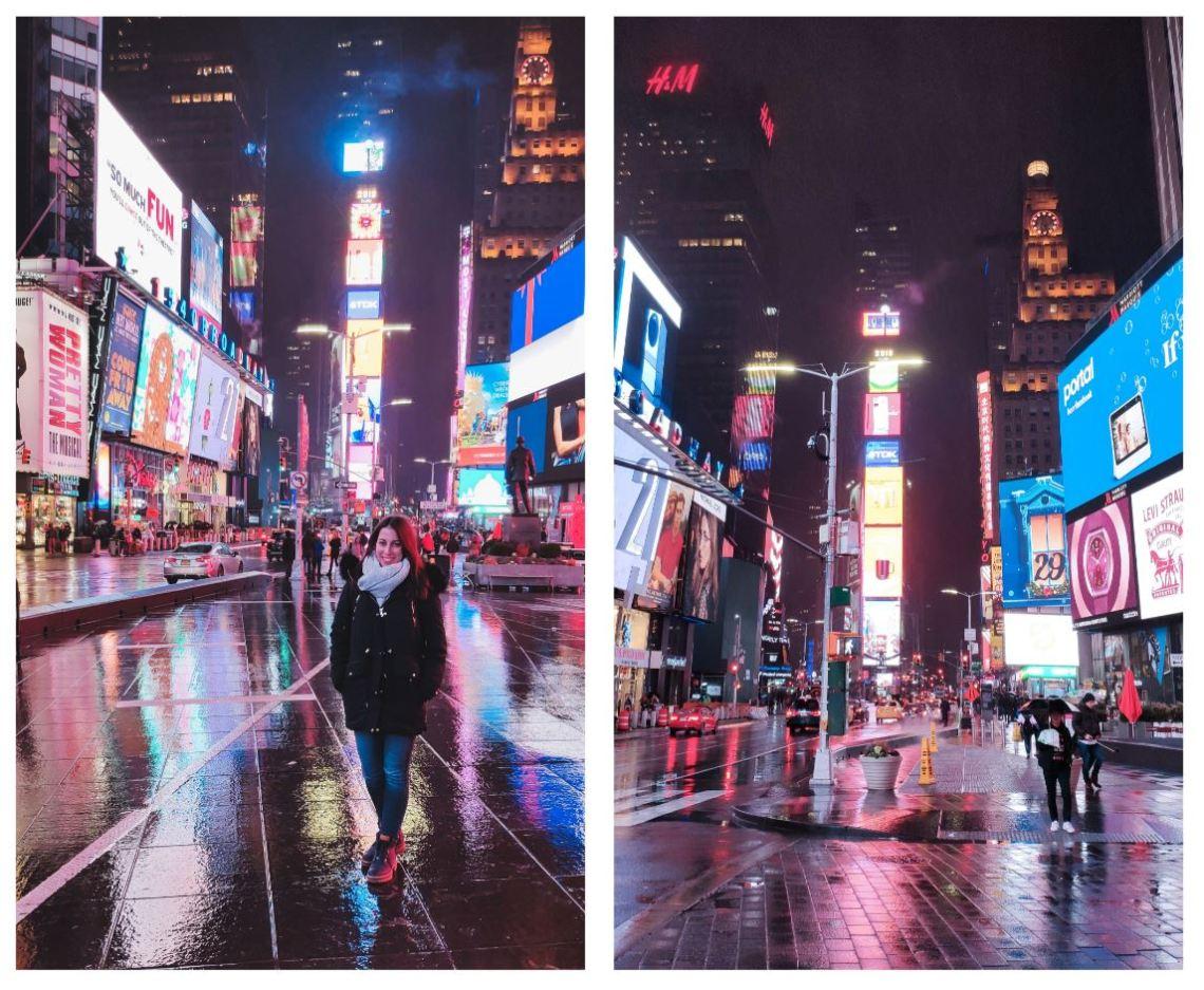 Times Square lloviendo