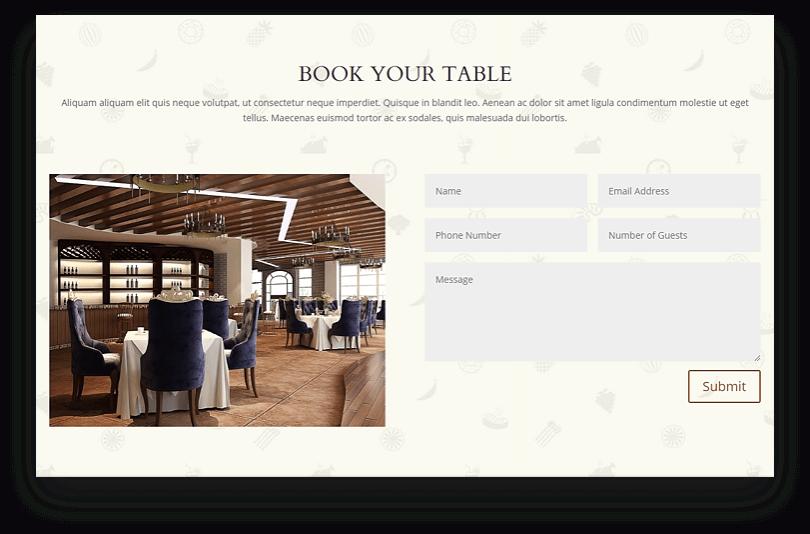Divi restaurant page layouts