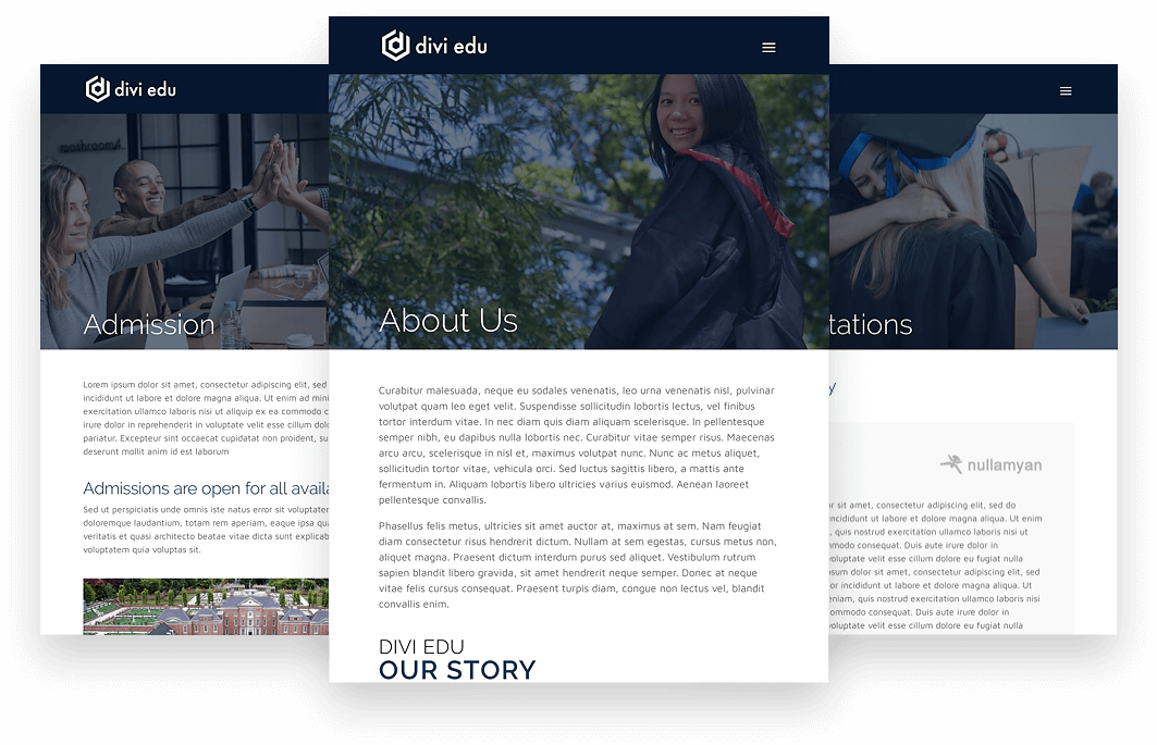 Divi educational website