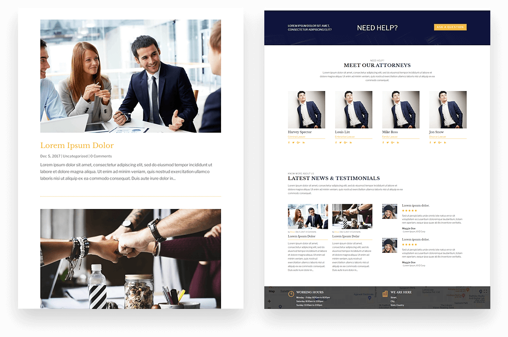 divi website for attorneys