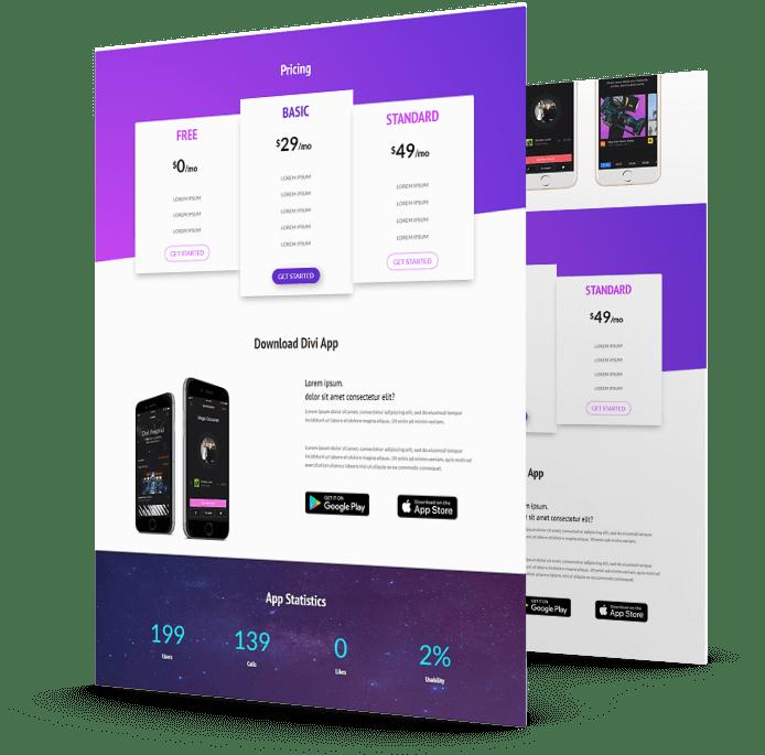 Divi mobile app landing page