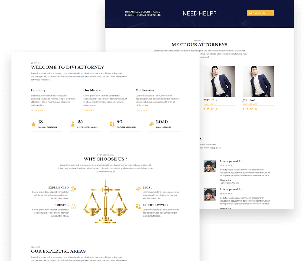 Divi Attorney child theme for lawyers