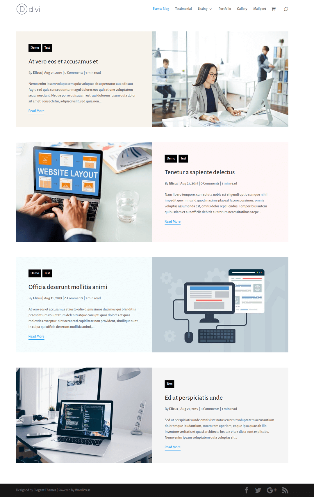 Divi Blog Layout