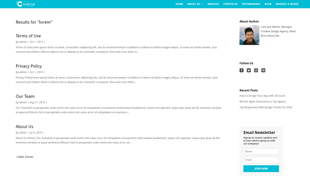 Customized Search Result page in Divi 4.0