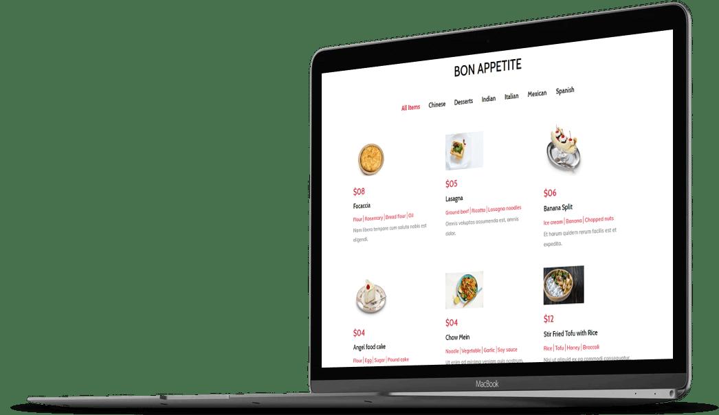 Category Filter Bar in Divi Restro Menu plugin