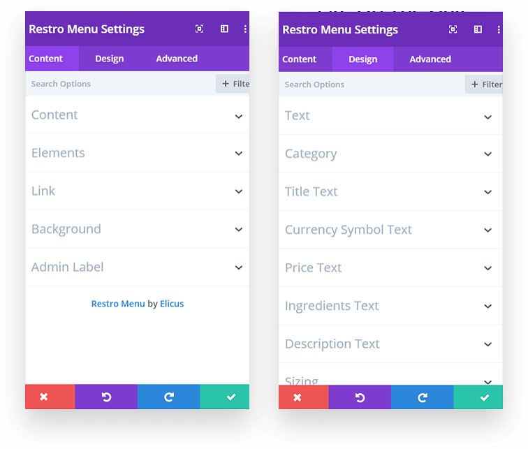 Divi builder module for displaying menu items
