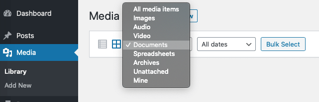WordPress 5.3 Spreadsheet, Document and Archive media support