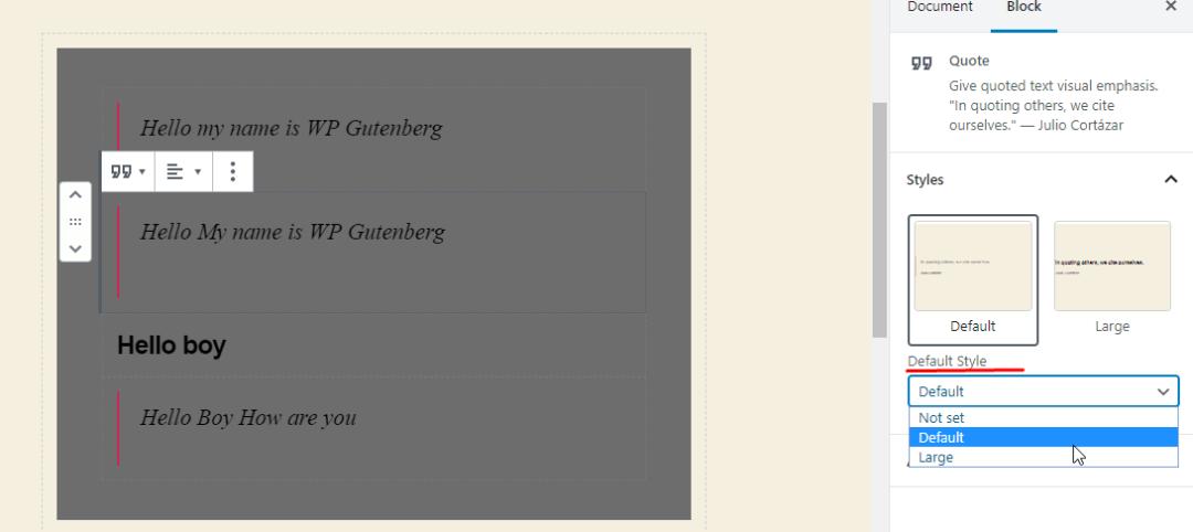 WordPress 5.3 Gutenberg with Quote default style