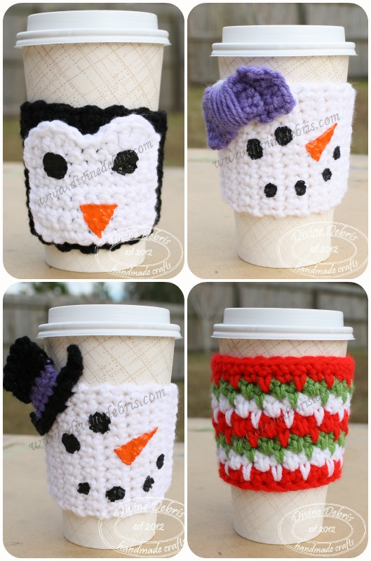 Winter Mug Cozies free crochet patterns by Divinedebris.com