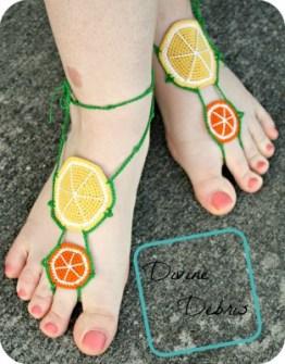 Citrus Barefoot Sandals Pattern by Divine Debris