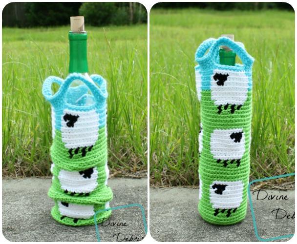 Shelia Sheep Cozy, a free crochet wine bottle cozy pattern by Divine Debris.com
