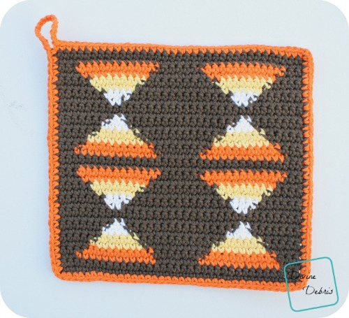 Candy Corn Hot Pad free crochet pattern by DivineDebris.com