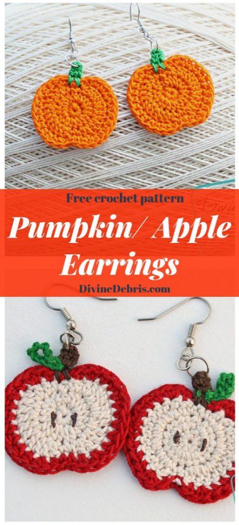 Pumpkin/ Apple Earrings free crochet pattern by DivineDebris.com