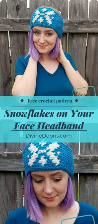 Snowlakes on Your Face Headband free crochet pattern by DivineDebris.com