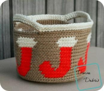 Joyful Stocking Basket free crochet pattern by DivineDebris.com