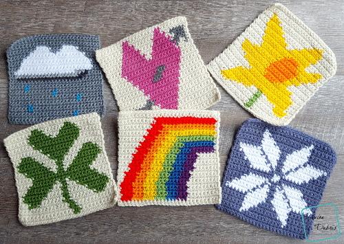 "8"" Tapestry Rainbow Afghan Square free crochet pattern by Divine Debris"