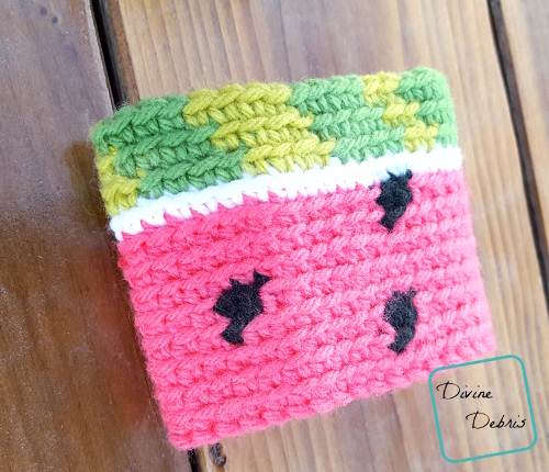 Watermelon Mug Cozy free crochet pattern by DivineDebris.com