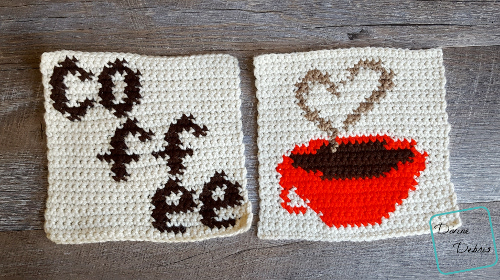 """8"""" Tapestry Heart and Coffee Cup Afghan Square free crochet pattern by DivineDebris.com"""