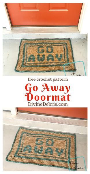 Go Away Doormat crochet pattern by DivineDebris.com  #crochet #freepattern #homedecor #tapestry