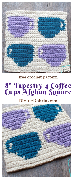 """8"""" Tapestry 4 Coffee Cups Afghan Square free crochet pattern by DivineDebris.com#crochet #afghansquares #tapestry #coffee #freepattern"""