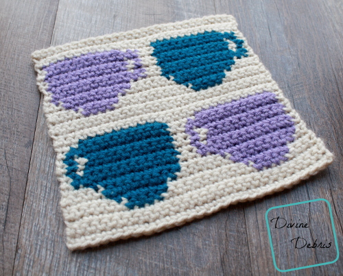 """8"""" Tapestry 4 Coffee Cups Afghan Square free crochet pattern by DivineDebris.com"""