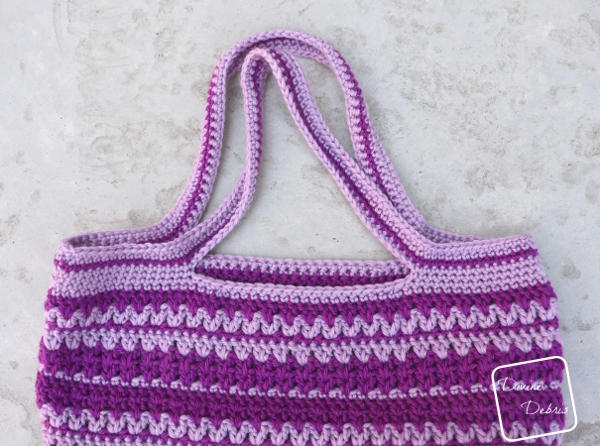 Learn to make a fun v-stitch based market tote bag for free on DivineDebris.com