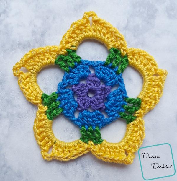 Rainbow Mini Mandala Crochet Earrings free pattern by DivineDebris.com