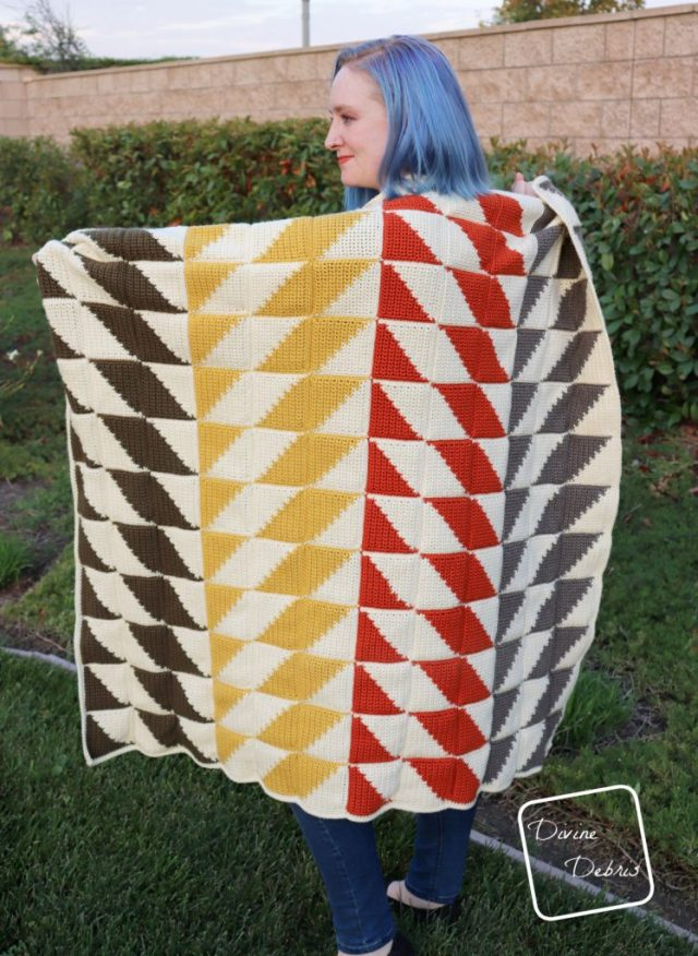 Learn to make this quilt inspired crochet throw blanket, the Divine Diamonds Throw, from a free pattern on DivineDebris.com