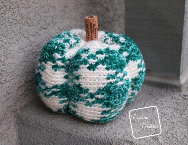 Learn to make the Pretty in Gingham Pumpkin from a free crochet pattern by DivineDebris.com