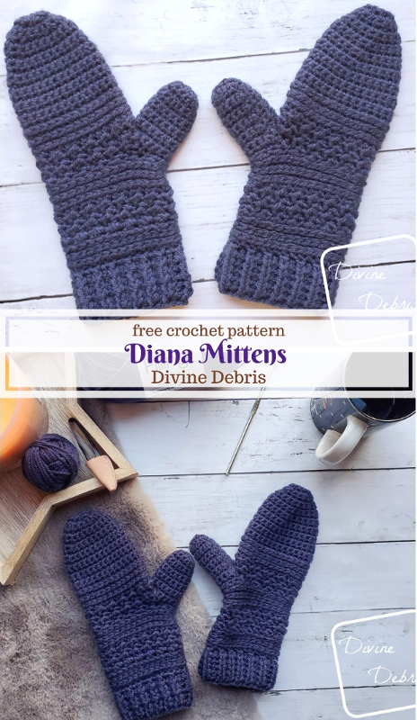 Diana Mittens free crochet pattern by DivineDebris.com