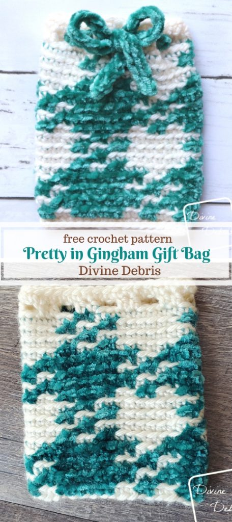 Pretty in Gingham Gift Bag free crochet pattern by DivineDebris.com