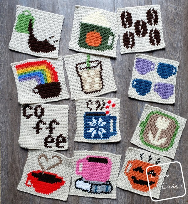 """2019 8"""" Tapestry Coffee Afghan Squares free crochet patterns by DivineDebris.com"""