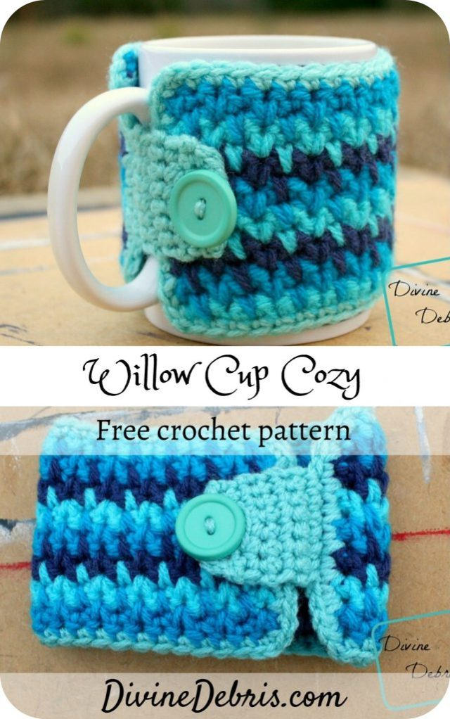 Learn to make the Willow Cup Cozy from a free crochet pattern on DivineDebris.com. Great for quick crochet gifting ideas any time.